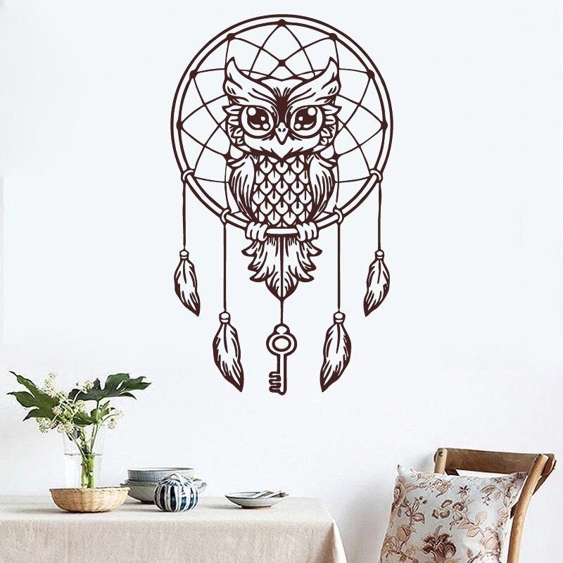 d402 owl wall decal dream catcher vinyl wall sticker bedding feather