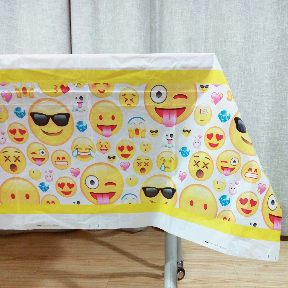108cm*180cm/set Emoji Table Cloth Baby Cartoon Theme Party Birthday Party Decoration Disposal Kids Favor Party Supplies Set