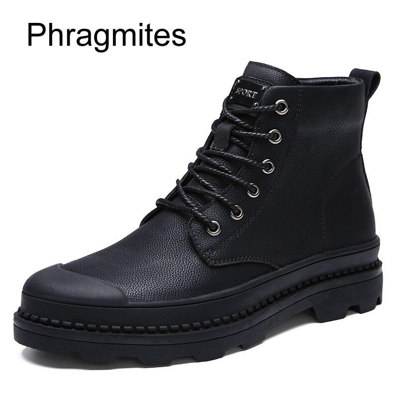 Phragmites black fashion dress male boots warm cow split men shoes winter plus size 47 snow boots outdoor anti-slip martin boots