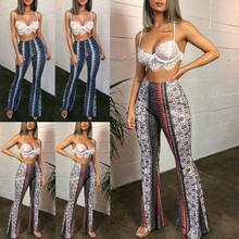 Frauen Hohe Taille Drucken Dünne Hosen Flare Boot Bein Cut Stretch Bottom Lounge Jogger 2019 Sommer Neue(China)