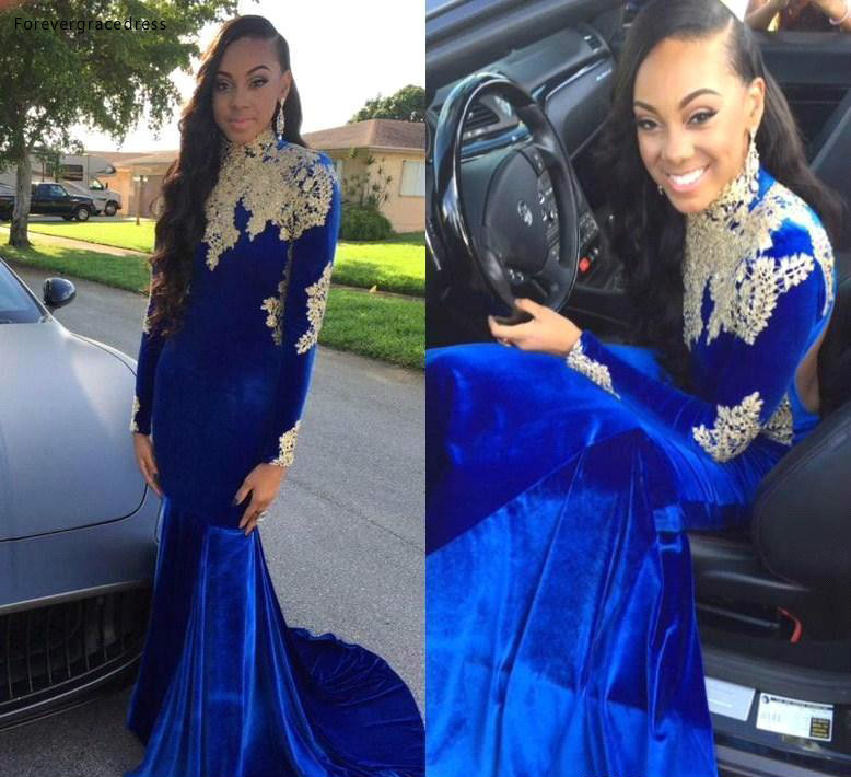 South African Black Girls   Prom     Dresses   2019 Long Sleeves Appliques Pageant Holidays Graduation Wear Formal Evening Party Gowns