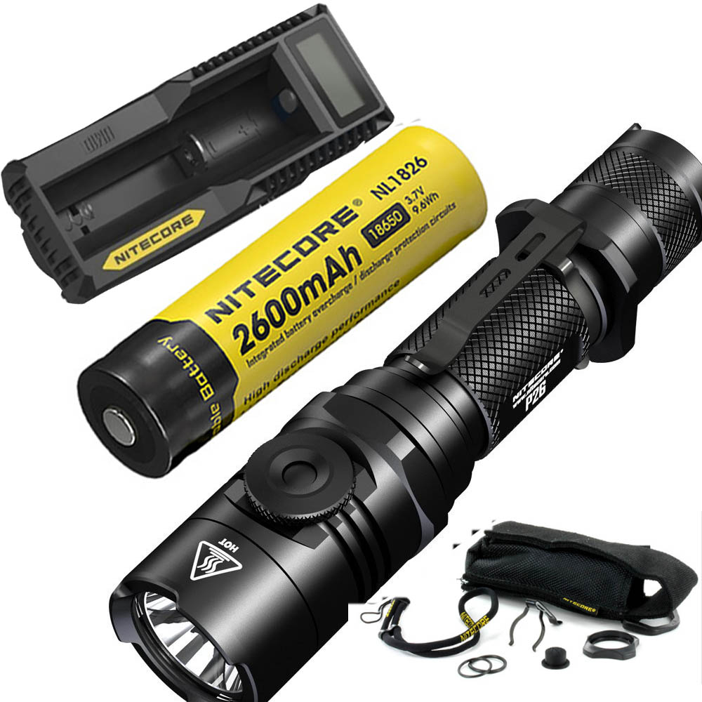 NITECORE P26 1000LM LED Infinitely Variable Brightness Tactical Flashlight Rotary Swith Hunting Torch with Battery and charger