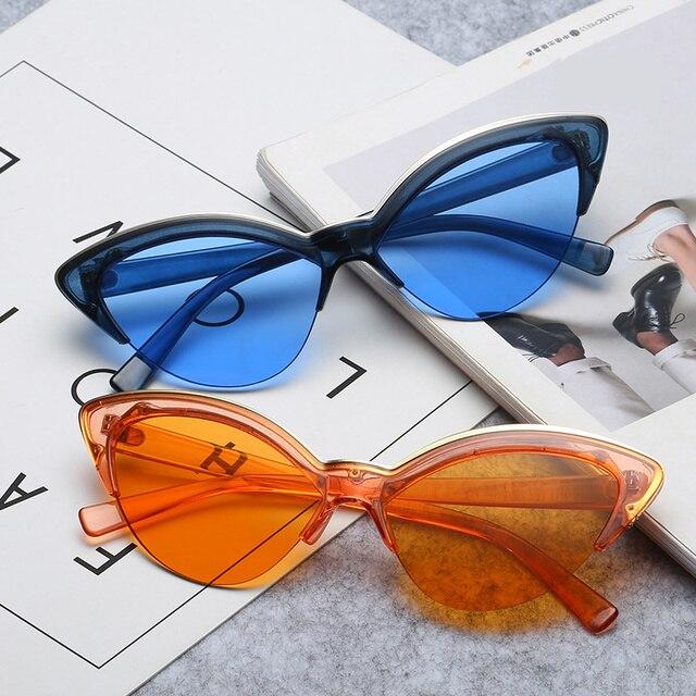 668e213996c Fashion Cat Eye Sunglasses Women Half Frame Transparent Color Sun Glasses  Female Vintage Orange Blue Cateye Eyewear UV400