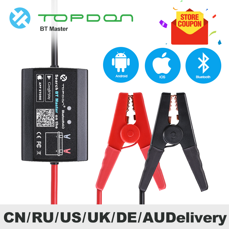 TOPDON BT Master Battery Tester Analyzer Bluetooth 4.0 Wireless 12V Diagnostic Tools Car Motorcycle Heavy Duty Truck PK BA101(China)