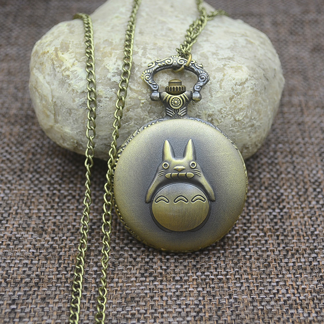 Wholesale Quartz Fashion Totoro Pocket Watch Necklace Woman Chinchilla Lanigera Molina FOB Watches Man Cute Cartoon Vintage