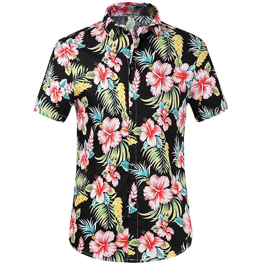 296dc6f39813 Aloha Shirt For Men Plus Size White Floral Casual Shirt Breasted Hawaiian  Tropical Summer Border Beach Collar Short Shirt