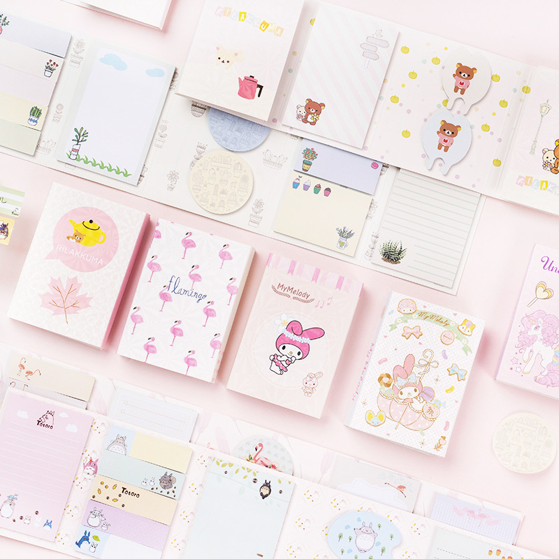 Kawaii Unicorn Flamingo 6 Folding Memo Pad N Times Sticky Notes Escolar Papelaria School Supply Bookmark Label