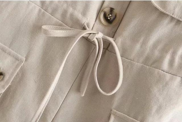 2019 Safari Style Spaghetti Strap Jumpsuit Women Open Button Lacing up Bow Waist Short Pants Romper Cotton Linen Playsuits 6