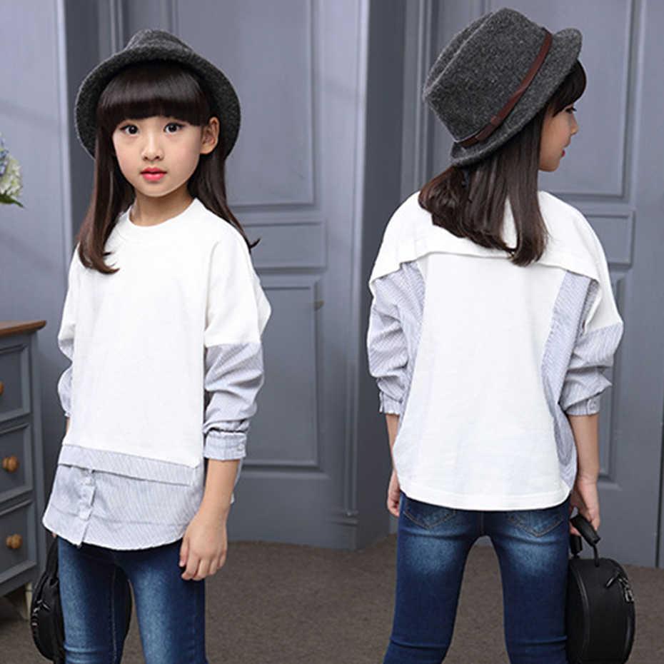 ffcd34897cd ... Детские Блузки для девочек одежда с круглым вырезом рубашки подростков  школьная одежда От 6 до 14 ...