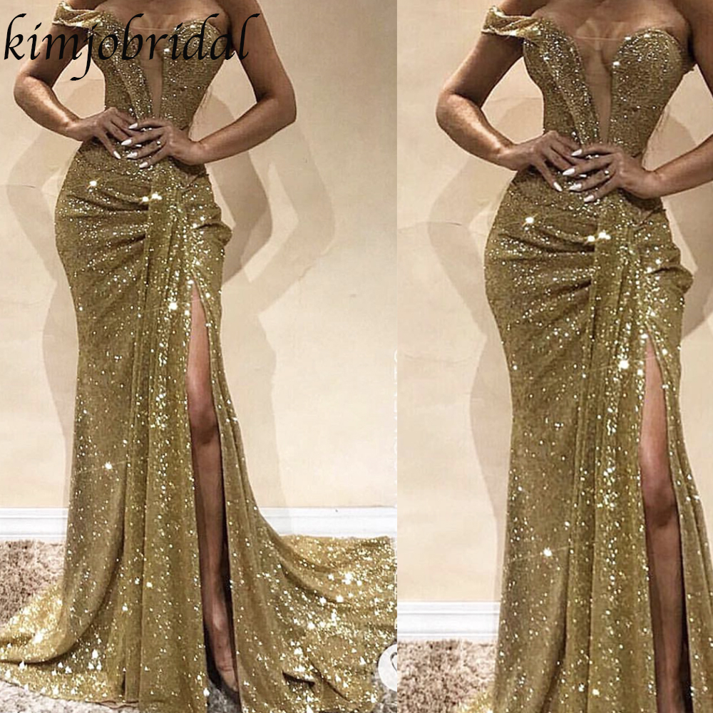 Prom     Dresses   2019 Sequins One Shoulder Mermaid Side Slit Gold Court Train Evening Gowns Wedding Guest   Dresses   Arabic