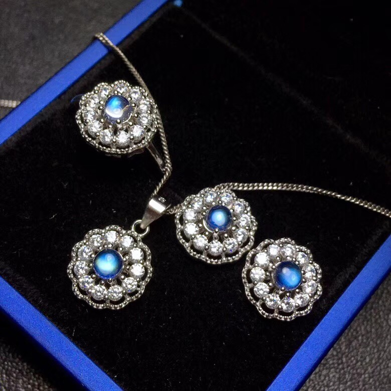 Recommended by the owner Natural Moonstone Set the latest product blue moonstone ring stud necklace 925