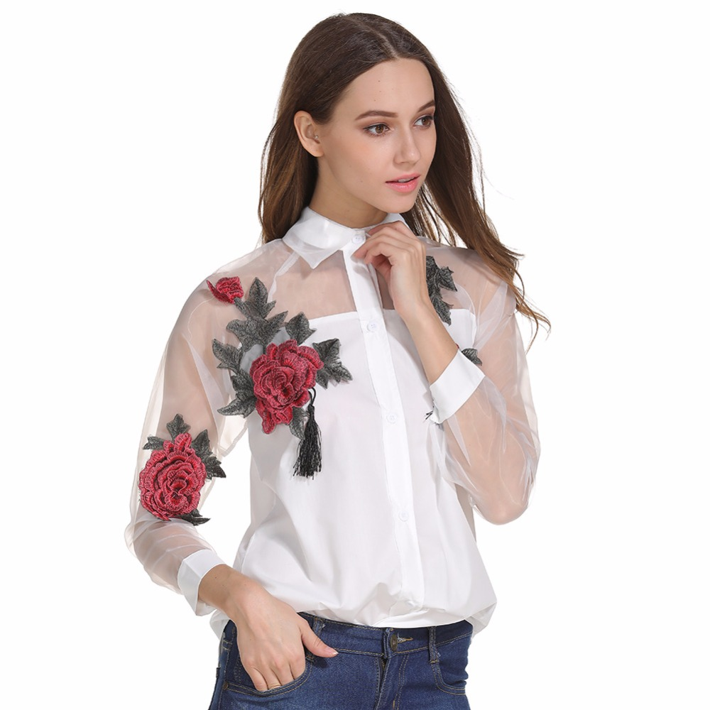 2019 Women Spring Autumn Casual Long sleeve   Blouse   Embroidered flowers Tassel Detail   Shirt   With Sheer Mesh Panel blusa feminina