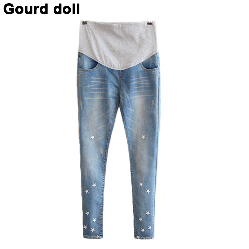 2016 Gourd doll Maternity pregnancy jeans care pants for pregnant women Elastic waist jeans pregnant pregnancy overalls clothes trendy snow wash slimming elastic waist capri jeans for women