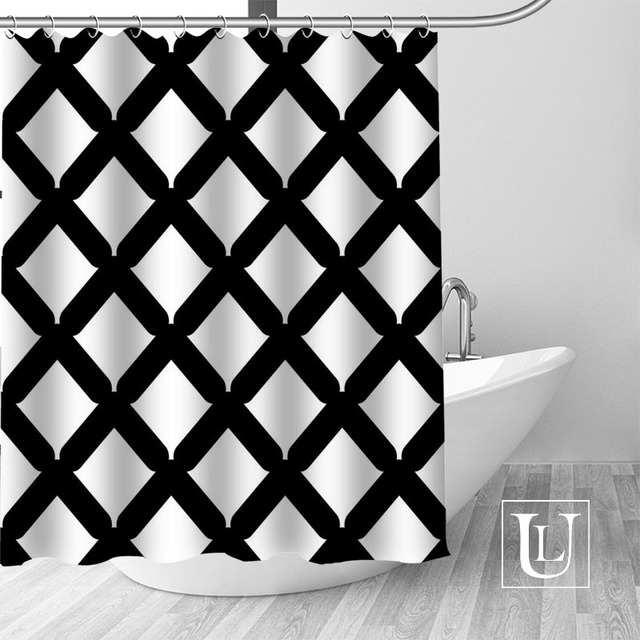 waterproof bathroom curtains modern black and white lines shower curtain polyester bath screens customized curtain