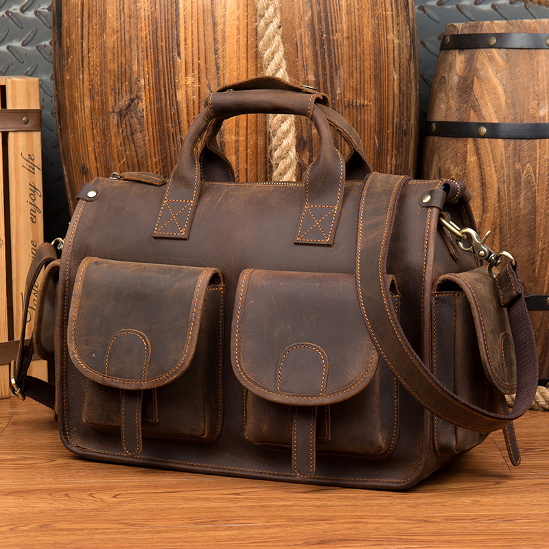 Vintage Men's Genuine Leather Briefcase Cowhide Business Bag Crazy Horse Leather Laptop Double Layer Messenger Bag PC Work Tote