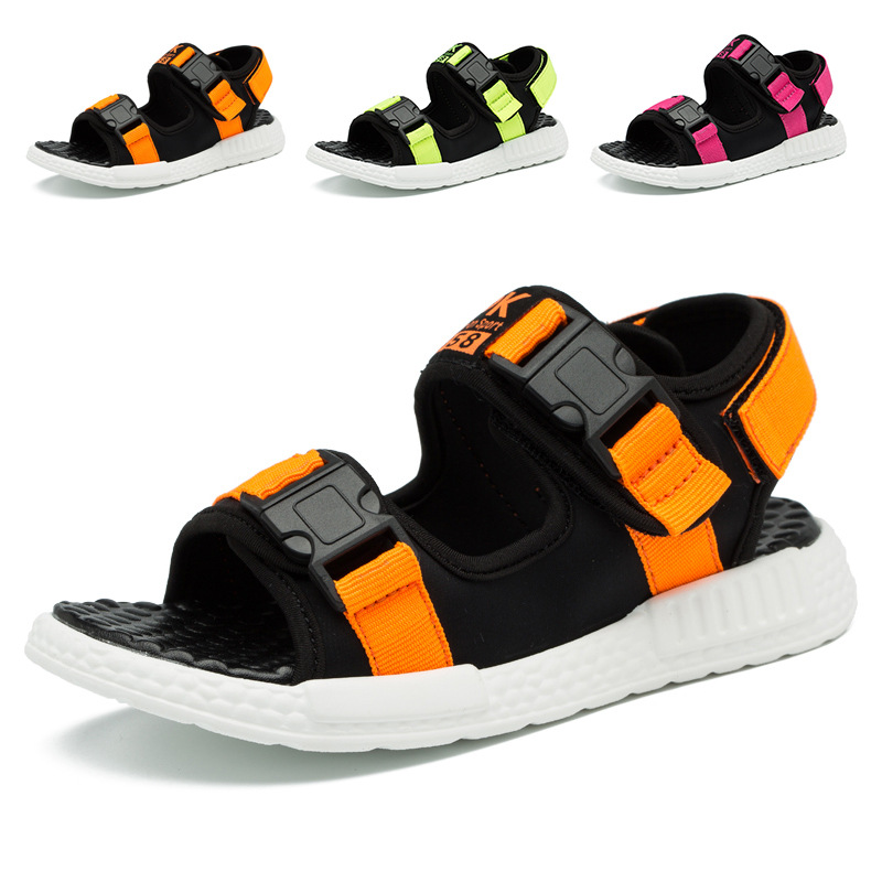 Hot Sale Summer Bright Color Ankle Wrap Children Sandals For Boys Yellow Comfortable Buckle Girl Beach Sandal Kid Shoes