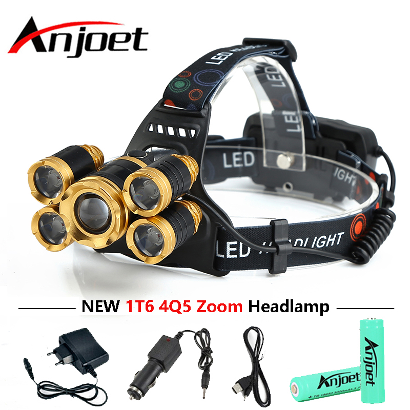 Anjoet 15000 lumens rechargeable 5 Leds T6 LED headlamp headlight Zoomable flashlight head lamp waterproof lights 18650 B
