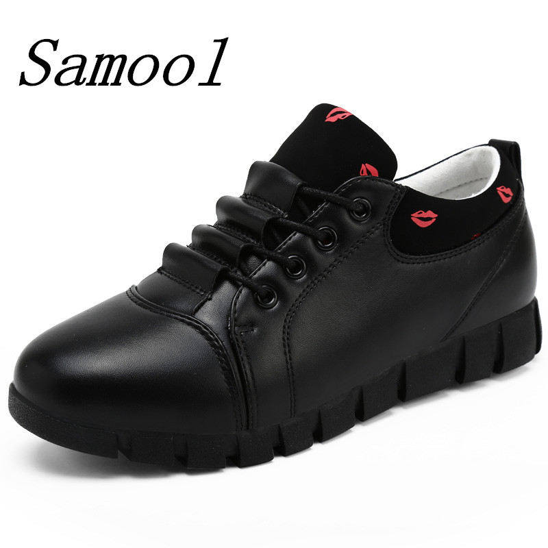 Leather Shoes Platforms Lace Up Women Casual Shoes Fashion Women Sneakers Flats Comfortable Chaussure Femme Zapatos Mujer fx3 high quality 4cm platforms full grain genuine leather flat casual shoes women 2016 white hollow out lace up fashion autumn flats