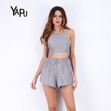 Summer Europe and the United States stripe cotton linen back short paragraph sleeveless jacket shorts two sets of fashion suit