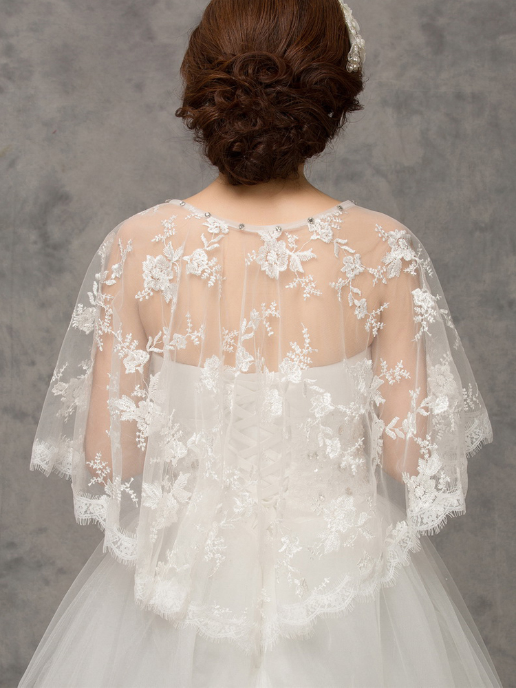 Купить с кэшбэком Princessally New Simple Wedding Bolero White Lace Sequined Elegant Evening Capes Bridal Jacket Cape De Mariage Fashion Bolero
