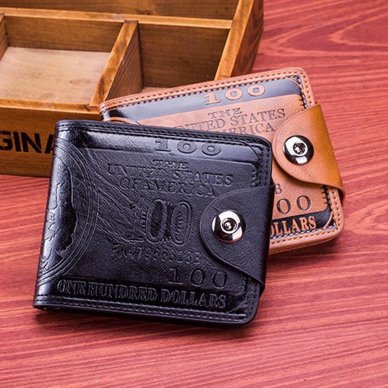 Men Vintage Wallet PU Leather Dollar Pattern Designer Men's Wallets Casual Credit Card Holder Purse Wallet For Male Money Bag (2)