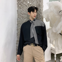 2019 Spring New Men Stripe Splice Casual Long Sleeve Shirt Japan Harajuku Streetwear Male Tie Collar Dress Shirts Party Clothing