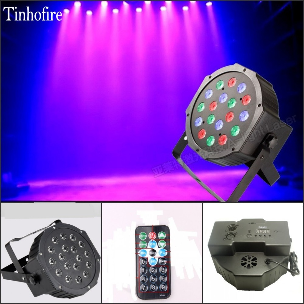Tinhofire Remote Control 18W 18 LED Stage Light RGB Par Light DMX512 Master Slave LED Flat DJ Equipment Controller Discos KTV dmx512 digital display 24ch dmx address controller dc5v 24v each ch max 3a 8 groups rgb controller