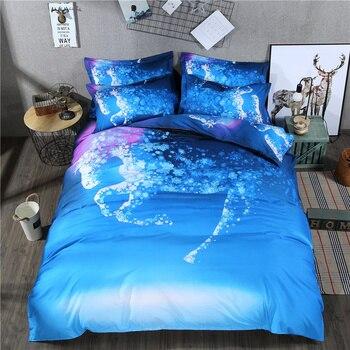 Fantastic Animal Printed Horse Deer Cheap Bedding Set Full Queen Size Duvet Cover Bed Sheets Pillowcase Beautiful Textiles Set