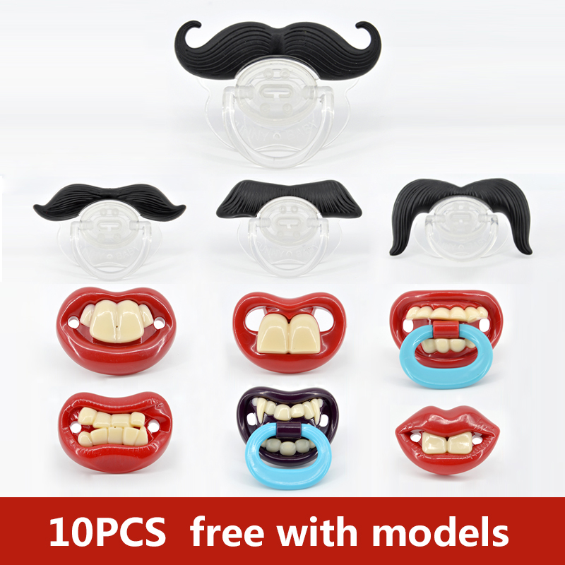 10pcs Silicone Funny Nipple Dummy Baby Soother Joke Prank Toddler Pacy Orthodontic Nipples Teether Baby Pacifier Christmas Gift
