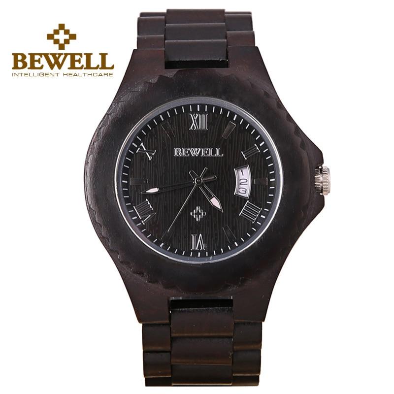 ФОТО BEWELL Men's Bangle Natural Wood Watch Analog Date Life Waterproof Watches Casual Japan Quartz Movement Wristwatch Men 129A
