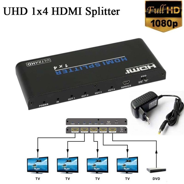 4K 2K UHD HDMI Splitter 1x4 1 Input 4 Output Repeater