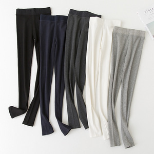 Image 3 - Kadınlar siyah gri tayt dar pantolon Kawaii sevimli kaburga tayt kız konfor pamuk Spandex streç Legging bayanlar tayt wk033