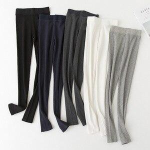 Image 3 - Legging Skinny pour femmes, pantalon gris noir, mignon Kawaii, en coton, extensible, confortable, wk033