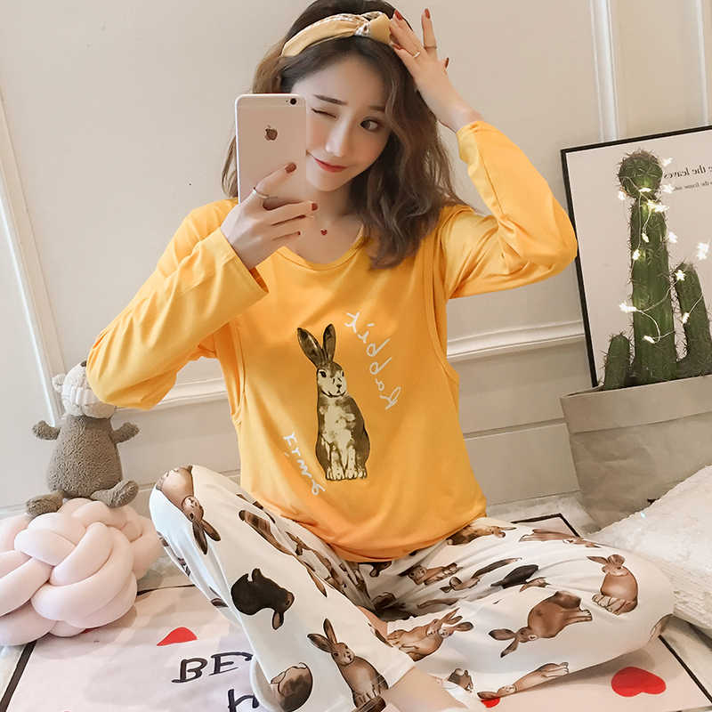 Spring Long Sleeve nursing clothes for Pregnant women Knitted cotton Pajamas Postpartum Maternal Lactation set maternity clothes