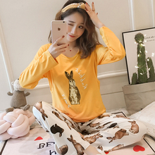 Spring Long Sleeve nursing clothes for Pregnant women Knitted cotton Pajamas Postpartum Maternal Lactation set maternity clothes maternity dress shirt size cotton backing the new spring and summer modal abdominal maternal lactation clothes feeding