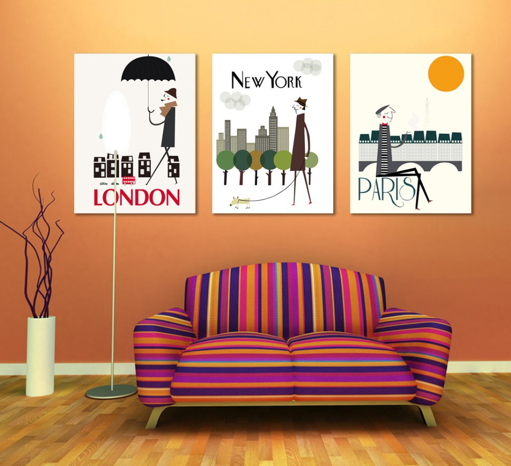 Us 9 8 49 Off Canvas Painting Paris London New York Painting Office Wall Art 3 Piece Canvas Home Decoration Abstract In Painting Calligraphy From
