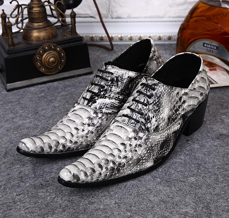 Lace-Up Pointed toes Oxforda Genuine Leather Men's Dress Shoe Leopard print Mix Colour High Heel Height Increasing Shoes Formal hight end full grain leather men lace up high heel shoes man thick heel black formal dress height increasing heighten shoes