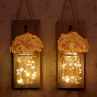 Flower Mason Jar LED String Lights with Wooden Base 2M String LED Fairy Light For Christmas Wedding Deco Garden Party Lighting