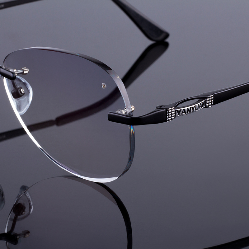 Image 3 - Sunglass Style Women Rimless Frame Men Titanium Alloy Glasses Frame Diamond Trimming Cut Rimless Glasses With Gradient Tint Lens-in Men's Eyewear Frames from Apparel Accessories