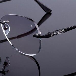 Image 3 - Óculos de sol estilo feminino sem aro quadro masculino liga de titânio óculos quadro corte diamante sem aro óculos com gradiente matiz lente