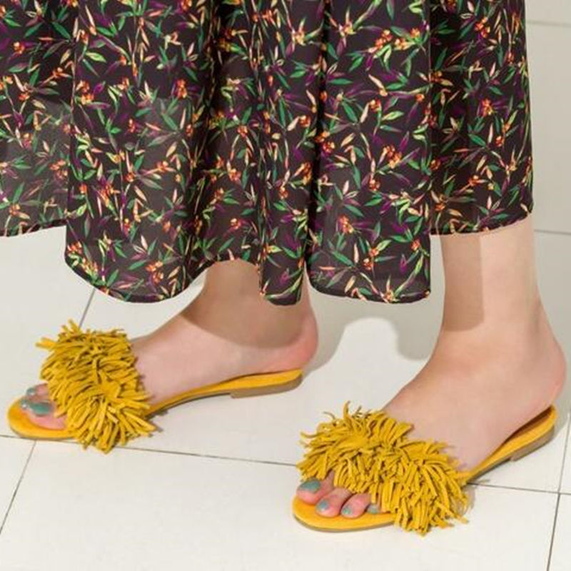 Fringe Summer Shoes Woman Tassels Peep Toe Slippers Slip On Female Casual Flower Flip flops Sandals Woman Handwork Colours Flat