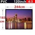 Toda venda 120 polegada de fosco com 1.1 ganho de tela de projeção 4:3 PVC de parede para todos 3d led projetor dlp hd mini casa