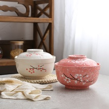 Japanese instant noodles bowls with lid Student  Bowl Tableware Creative lunch box Instant