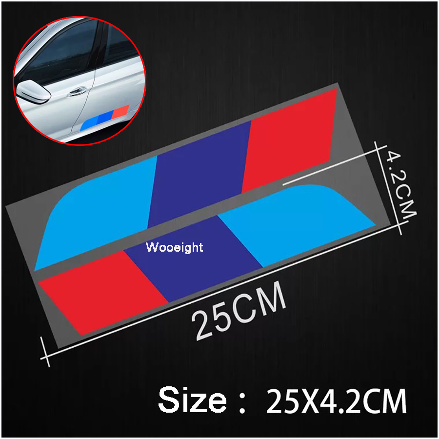 2Pcs M <font><b>Car</b></font> Styling Sports Decal Reflective Rear Trunk Side Skirt Stripe Sticker Fit For <font><b>BMW</b></font> <font><b>E90</b></font> E46 X3 X4 X5 3 4 5 7 All Series image