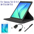4 en 1 de La Manera de Calidad Superior de LA PU Cubierta de Cuero para Samsung Galaxy Tab S2 8.0 T710 T715 Tablet Case + Protector de Pantalla + OTG + Stylus Pen