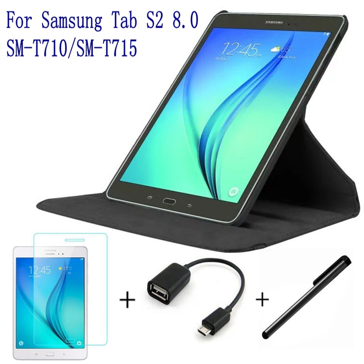4 in 1 Fashion Top Quality PU Leather Cover for Samsung Galaxy Tab S2 8.0 T710 T715 Tablet Case+ Screen Protector+OTG+Stylus Pen