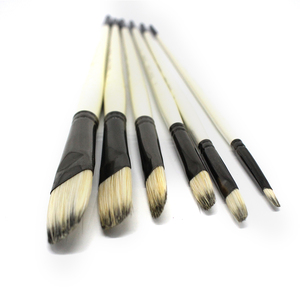 Image 5 - Eval Professional 6Pcs White Painting Brushes Set Mix Bristle Hair Watercolor Oil Acrylic Artistic Paint Brush For Art Supplies