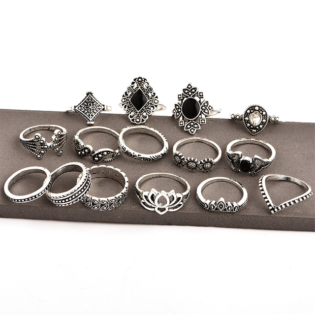 15 Pcs/set Bohemian Retro Crystal Flower Leaves Hollow Lotus Gem Silver Ring Set Women Wedding Anniversary Gift 5