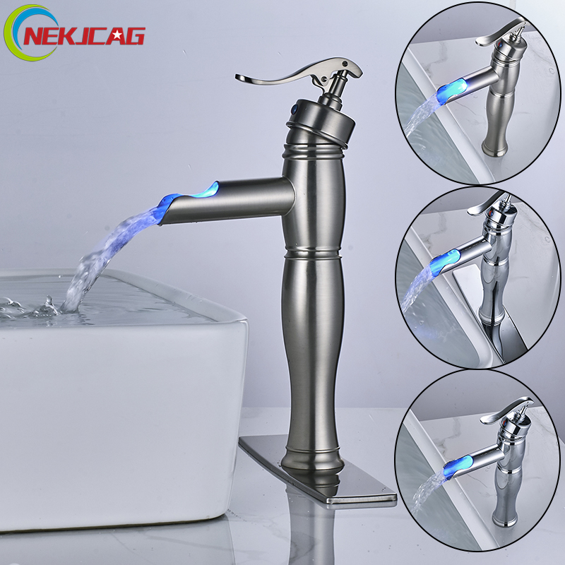 New Arrival LED Bathroom Basin Faucet Single Handle Sink Faucet Chrome Nickel Hot and Cold Water Mixer Tap with Plate newest washbasin design single hole one handle bathroom basin faucet mixer tap hot and cold water orb chrome brusehd