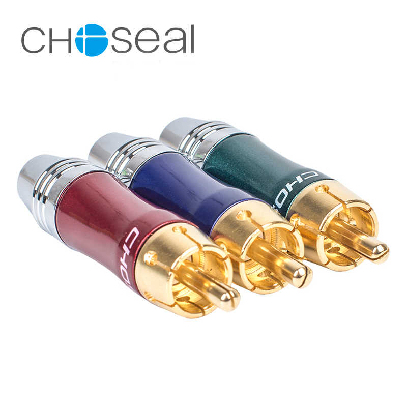 Choseal 30th anniversary QS6046 3 pçs/lote DIY Plugue RCA Conector De Vídeo AV Macho para Fêmea Adaptador De Cabo de Áudio Cabo do Altifalante